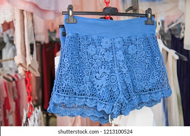 Arta, Mallorca / Spain - 06/13/2017: Blue hotpants offered on the market day