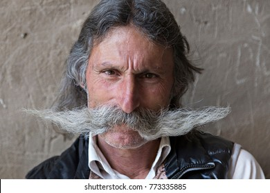 ARTASHAT, ARMENIA - APRIL 28, 2017: Portrait of an Armenian man with a big moustache, in Artashat, Armenia.