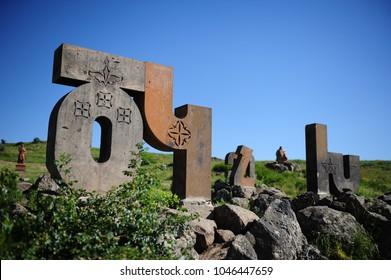Artashavan, Armenia - July 2, 2017: Armenian Alphabet Monument