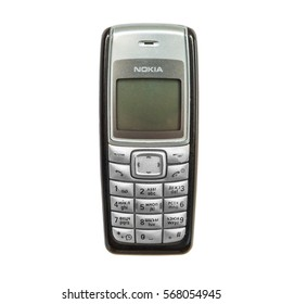 ARTEM, PRIMORSKY, RUSSIA - December 31, 2017: The old   NOKIA 1110i cell phone which went on sale in 2006. On a white background.