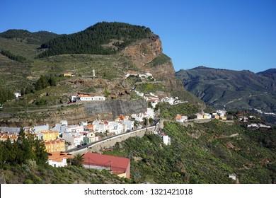 ARTENARA, SPAIN - CIRCA FEBRUARY 2019 Town on the rock