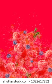 Artfully and lovingly designed photomontage with raspberries, blackberries, strawberries and water splashes in the background