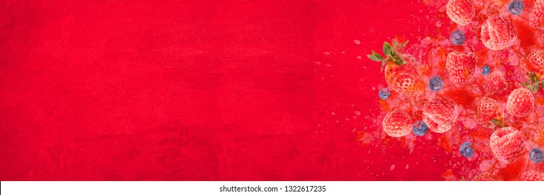 Artfully and lovingly designed photomontage with raspberries, blackberries, strawberries and water splashes in the background Banner