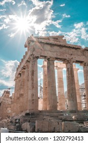 arthenon temple on a bright day. Acropolis in Athens, Greece