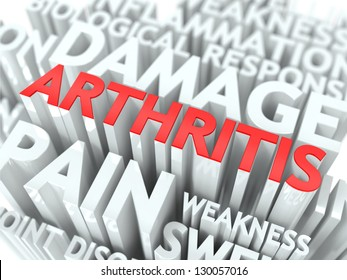 Arthritis Concept. The Word of Red Color Located over Text of White Color.