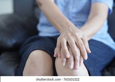 arthritis old person and Elderly woman female suffering from pain at home