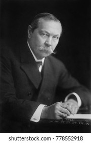 Arthur Conan Doyle, a Scotch-Irish writer created the fictional detective Sherlock Holmes, c. 1920. His many works include fantasy and science fiction, romances, poetry, non-fiction and historical nov