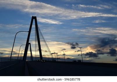 Arthur Ravenel Jr. Bridge in Charleston, SC at sunset