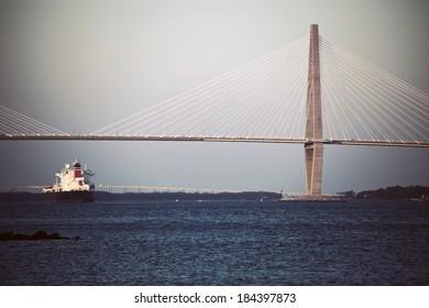 Arthur Ravenel Jr. Bridge (New Cooper River Bridge), above Cooper River in South Carolina, connects downtown Charleston to Mount Pleasant