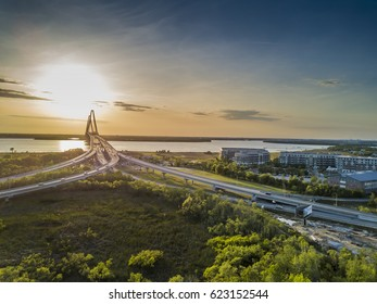 The Arthur Ravenel Jr. Bridge over the Cooper River in South Carolina, USA at dusk.
