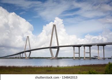 Arthur Ravenel Jr. Cooper River Bridge Charleston South Carolina Blue Skies & Clouds