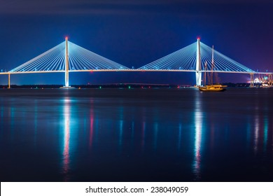 The Arthur Ravenel Junior Bridge at night in Charleston, South Carolina.