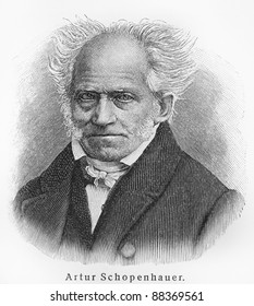 Arthur Schopenhauer - Picture from Meyers Lexicon books written in German language. Collection of 21 volumes published between 1905 and 1909.