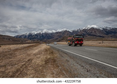 ARTHUR'S PASS ,NEW ZEALAND-SEPTEMBER 2 : passenger car and truck on highway in Arthur's Pass national park important traveling destination in  south island on september 2, 2015 in  new zealand