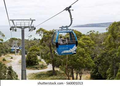 ARTHURS SEAT, AUSTRALIA â?? January 11, 2017: Gondolas of the Arthurs Seat Eagle Skylift, the newest attraction of the Mornington Peninsula, Victoria, Australia