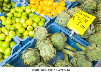 Artichoke and limes on a market in Leiden, Netherlands.