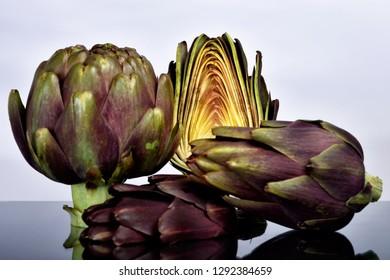 artichoke on black background