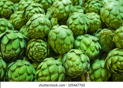 artichokes  in a market for fruit and vegetables ready for sale.