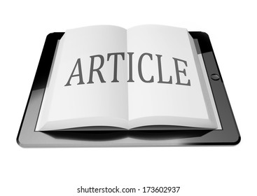 Article with ebook in digital tablet computer, mobile reading concept