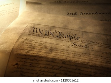 Article One of the US Constitution with 2nd and 5th Amendments in the background