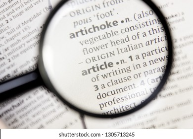 Article word or phrase in a dictionary.