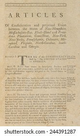 The Articles of Confederation. First page of a 1777 printed version of the Nation's first constitution. It structured a confederation of 13 sovereign states bound loosely in a 'league of friendship.'