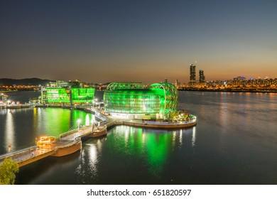 Articles island located on Han river near banpo bridge in Seoul city South Korea twilight time view 20 May 2017.