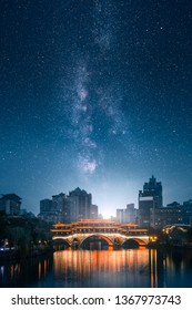 Artictic view of Anshun bridge on Jin River at night with  milky way on the sky in Chengdu, Sichuan, China