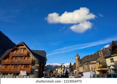 Arties village church in Lerida Catalonia of Spain Pyrenees in Aran Valley
