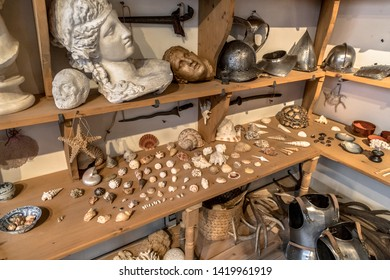 Artifacts cabinet in Artist atelier study room used by dutch master painters in the 17th century in Amsterdam