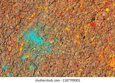 an artifacts on the asphalt after the Spring Festival of colors