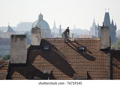Artificer on the roof, Prague, Czech Republic