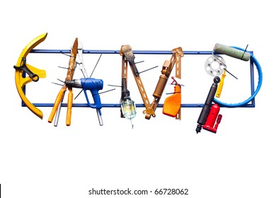 artificial CAMP word made from equipment isolated on White Background