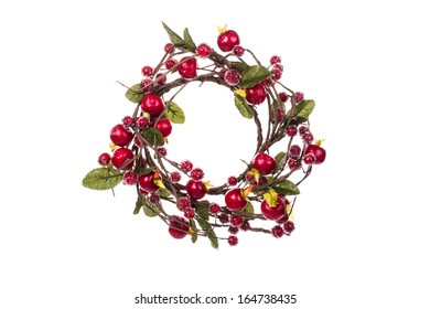 Artificial Christmas wreath on isolated background