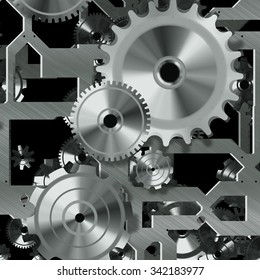 Artificial clock mechanism and gears illustration