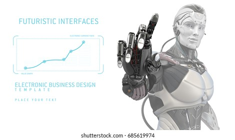 Artificial cyborg's hand touching screen. Futuristic robot working with virtual hud interface. Electronic business concept art. 3d rendering
