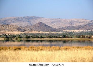 Artificial dam in Pilanesberg National Park, South Africa