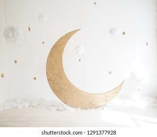 Artificial decorations with a moon and stars. Vintage decorations. Child room