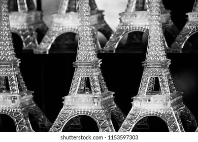 Artificial Eiffel towers isolated interior showpiece object unique blurry photo