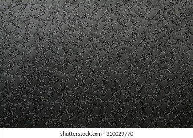 Artificial fabric texture Black with floral classy pattern