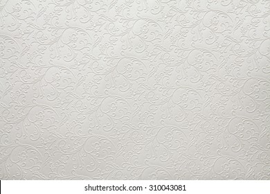 Artificial fabric texture White with floral classy pattern