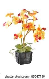 Artificial Flower Arrangement (Yellow Vanda in the wood pot)