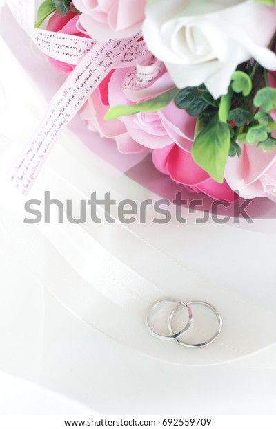 Artificial flower bouquet made by soap with wedding ring