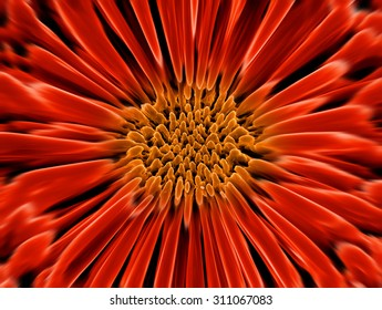 artificial flower made of a real image of nanostructures taken with scanning electron microscope