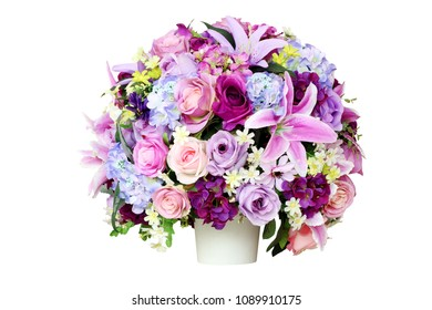 artificial flower in vase isolated on white background