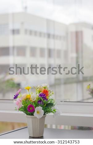 Artificial Flower Vase Next Glass Mirror Stock Photo Edit Now