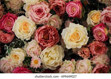 artificial flowers, floral carpet