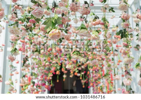 Artificial Flowers Hanging Ceiling Stock Photo Edit Now 1031486716
