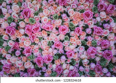 Artificial Flowers Wall for background