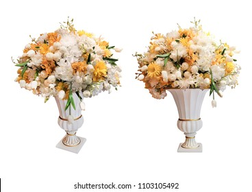 Artificial flowers in white vase isolated on white background with working path.Colorful flower bouquet arrangement centerpiece in vase isolated on white background. Closeup. old classical style
